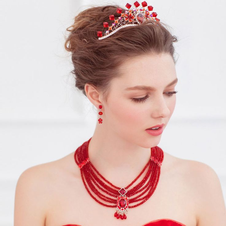 Naszyjnik / Kolczyki / Czerwona Sukienka Suknie Ślubne Ślubne Akcesoria