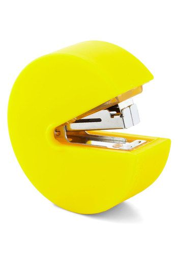 As you work, you're surrounded by a myriad of notebooks, highlighters, pencils, and more, but no office supply makes racing against a deadline as entertaining as this Pac-Man stapler! It's 'game over' for the mess of papers that has been cluttering your desk when you let this yellow fellow from your favorite childhood game chomp down on a stack of pages, neatly fastening them together with a mini staple!