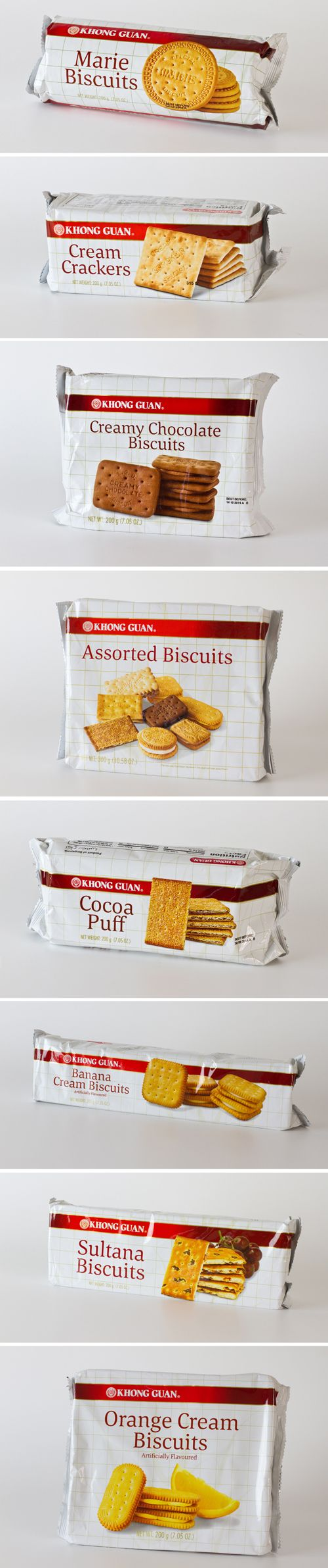 "Khong Guan Singapore - snacks and biscuits manufacturer. Photographed the biscuits and designed a facelift of their original ""checker series"" biscuits. Most original elements must be retained like the checker pattern and the logo red band. To adhere to these restrictions, a fresher interpretation for these graphics have been applied.  #biscuitPackaging #packagingDesign #biscuitPhotography"