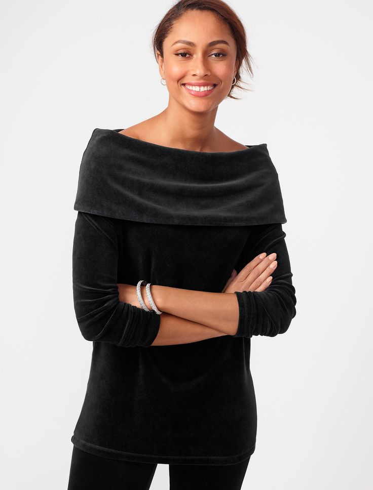 Luxe Off The Shoulder Velour Top T By Talbots Casual