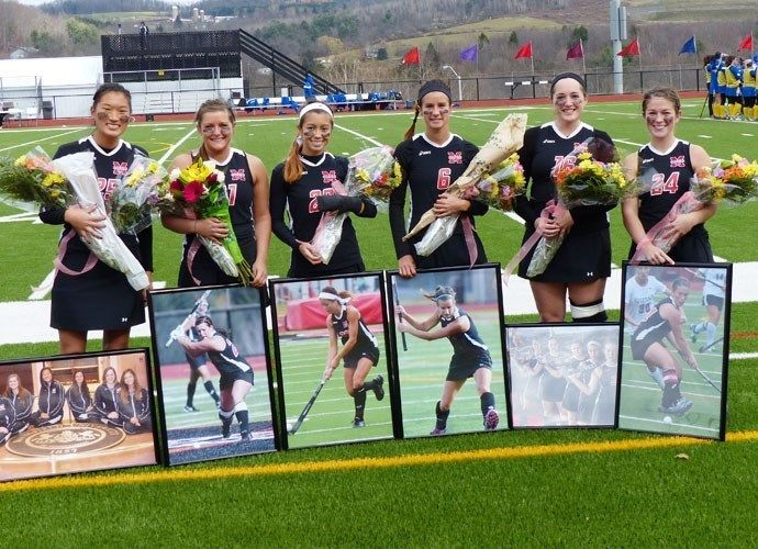 A picture of our MU Field Hockey Seniors during Senior Day. Congratulations ladies, and the best of luck in your future endeavors.