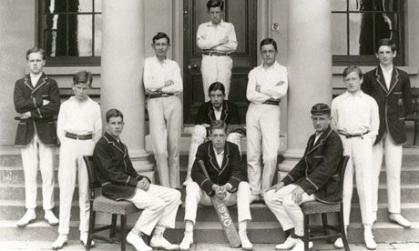 Samuel Beckett (second from left) with his school cricket team in 1920.  Cricket was his strongest sport (he remains the only Nobel prize winner to feature in Wisden as a player).