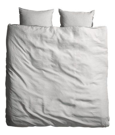 H&M King Linen Duvet Set in  Light Gray  PRODUCT DESCRIPTION   DESCRIPTION PREMIUM QUALITY. Duvet cover set in washed linen with double-stitched seams at edges. Duvet cover fastens at foot end with concealed metal snap fasteners. Two pillowcases. Thread count 104. Tumble-drying will help keep linen soft. DETAILS 100% linen. Machine wash hot Imported Art.No. 41-0585