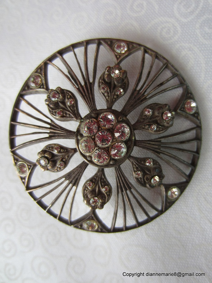 ~ 'French' Open Work Metal Button With Pretty Pastes ~ (1930's)