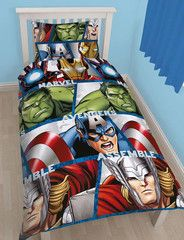 AVENGERS ~ 'Shield' Single Bed Reversible Quilt Set
