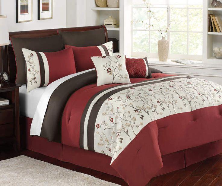 Aprima Harper Red, Brown & White 7-Piece Comforter Sets at Big Lots.