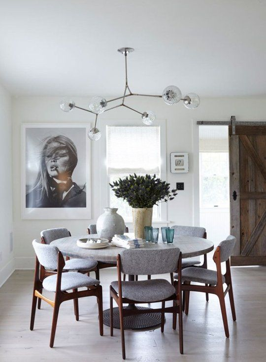 Modern dining room with round dining table, gray upholstered dining chairs and a modern globe light fixture.