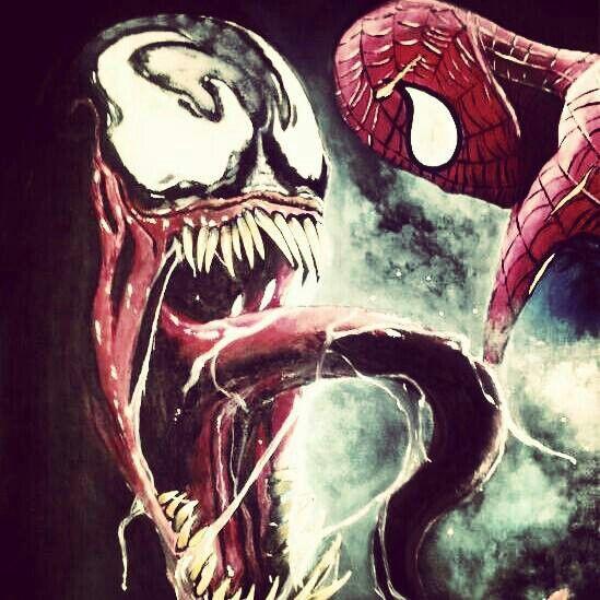 "Venom vs Spiderman 16x20"" $85.00"