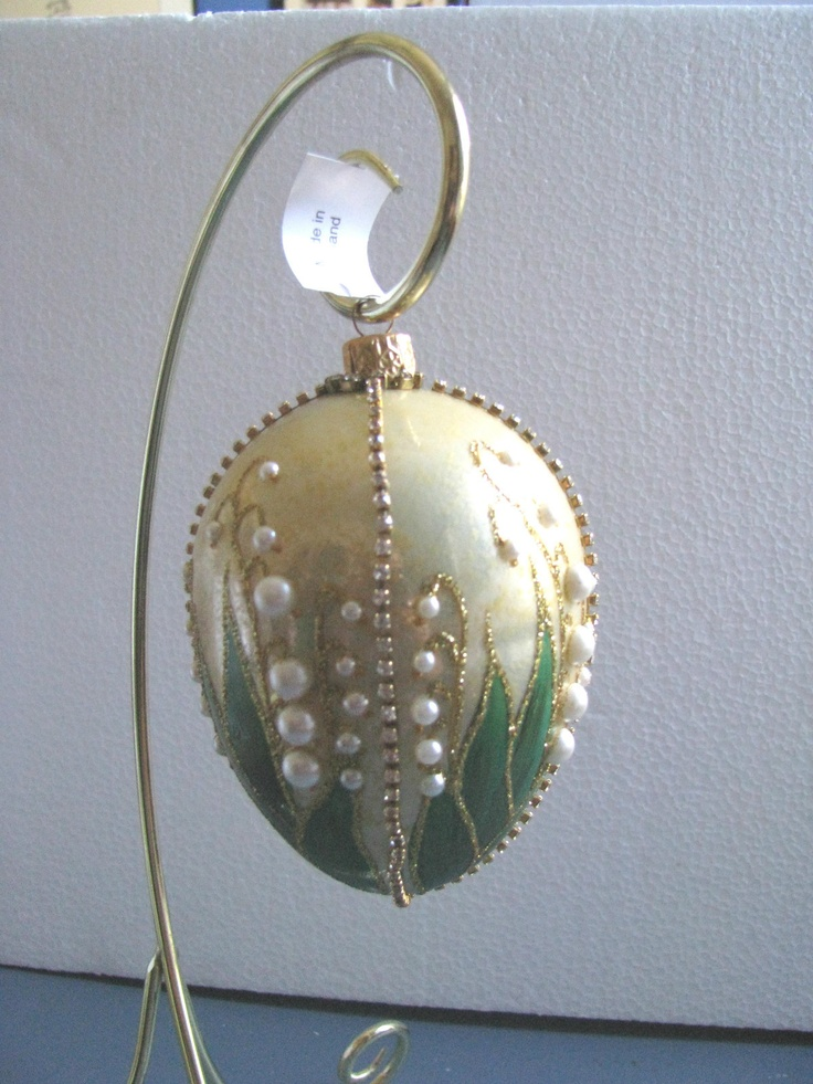 Thomas Glenn Gold Glass Egg Ornament Lily of The Valley Crafted in Poland, Jozefow (Silverado.com.pl)