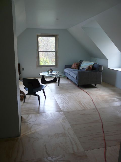 plywood floor - nice idea for a redo on a budget