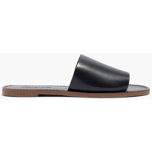 MADEWELL The Boardwalk Simple Slide Sandal ($70) ❤ liked on Polyvore featuring shoes, sandals, true black, stretch leather shoes, leather slip-on shoes, black slip on sandals, black leather shoes and black leather sandals