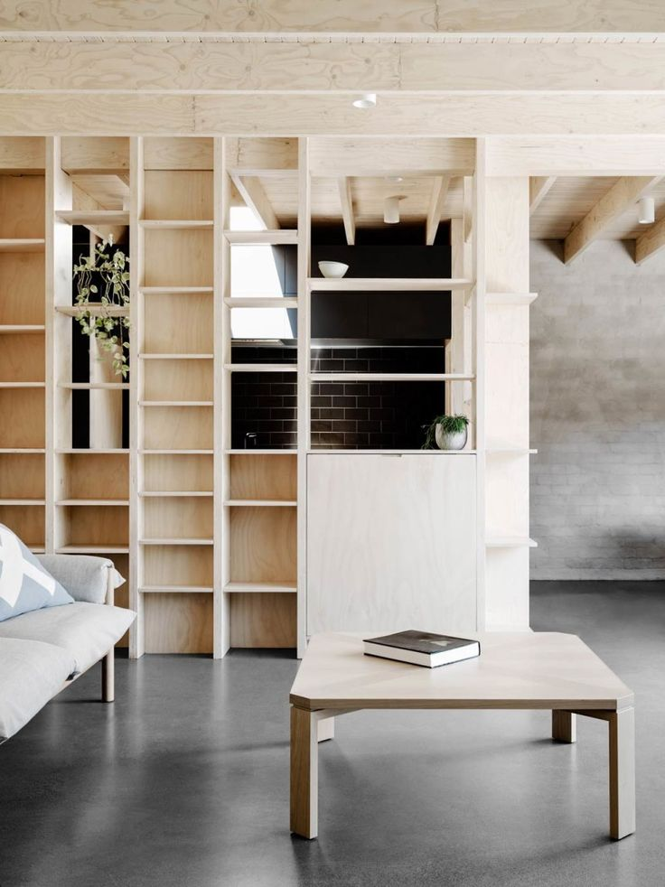 Shelves!  A MODERN HOME WITH AN ABUNDANCE OF PLYWOOD | THE STYLE FILES