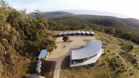 Drone View of the Ocean View Eco-Studios and the Tasman Sea Beyond