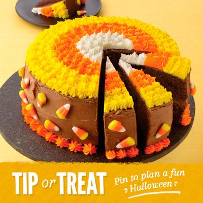 A delicious centerpiece for your Halloween celebration. Each slice looks like a piece of candy corn.