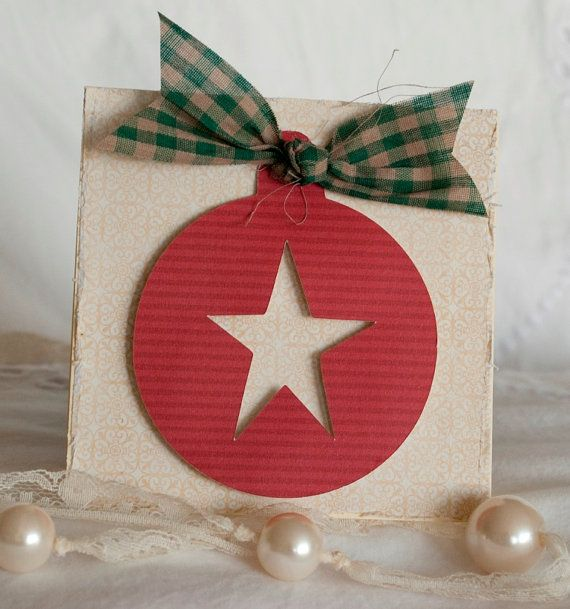 Christmas Cards Set TEN Handmade Rustic Vintage Christmas Star Ornament Cards