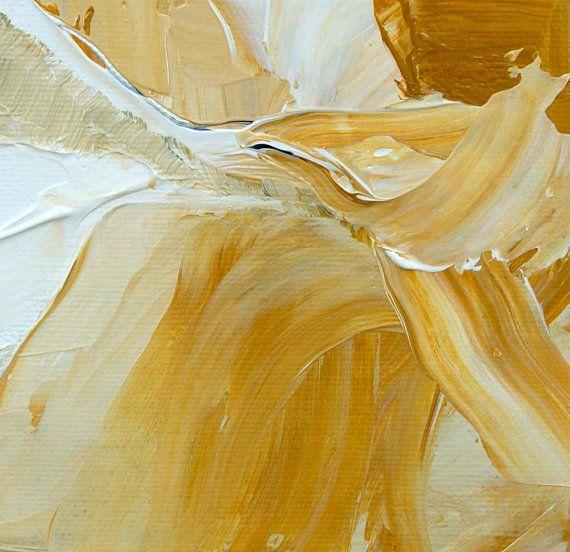 Pittura a olio astratta Titled 'Fiona' giallo di VictoriaKloch