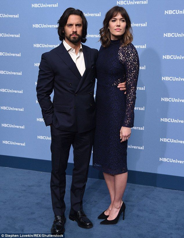 Bouncing back:Mandy Moore  looked happy as she posed with her 'TV hubby' Milo Ventimiglia at the NBC/Universals upfronts in NYC on Monday
