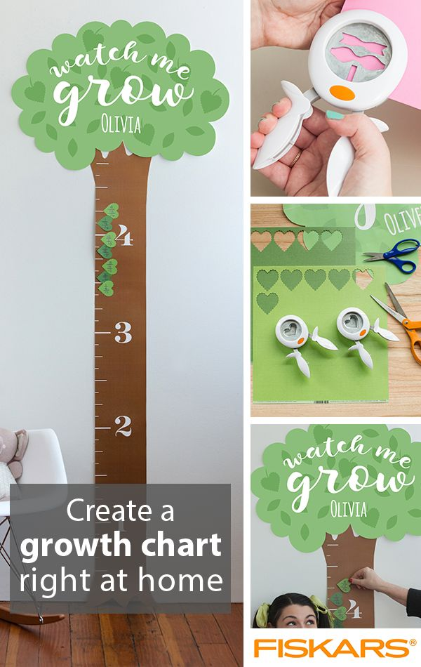 Create a height chart  to hang in your home! Keep track of your children's growth over the years by making this fun and useful project with your kids. Find the full set of directions, and many more inspiring projects, on fiskars.com!