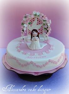 Pastel para primera comunion con flores y nena dando gracias!!!!!