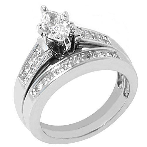 2 carat marquise diamond engagement ring wedding band bridal set - Ring Wedding