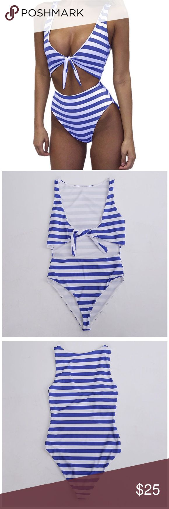 Blue Striped High Waisted Swimsuit Blue Striped High Waisted Swimsuit  Size: XL (runs small, please see size chart) One Piece New Without Tags Never Used  💋Listed as Fashion Nova for Exposure💋 Fashion Nova Swim One Pieces