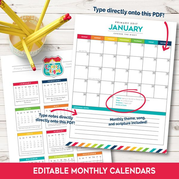Calendar Ideas Primary : Lds primary editable calendars i love this