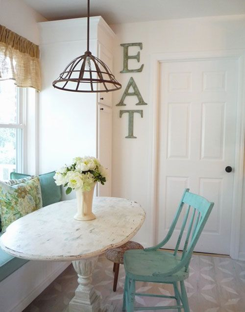 Breakfast Nook: Kitchens, Dining Room, Breakfast Nooks, Decorating Ideas, Light Fixture, Eat Sign