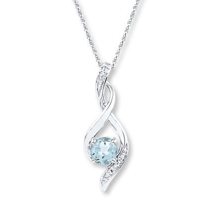 Jared - Aquamarine Necklace Diamond Accents Sterling Silver