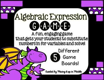 Here is a GREAT way to get your students engaged, having fun, and talking about MATH! This is an exciting game that students will LOVE. In this version students will need to roll a die, substitute the number in for the variable and solve algebraic expressions to earn and cover