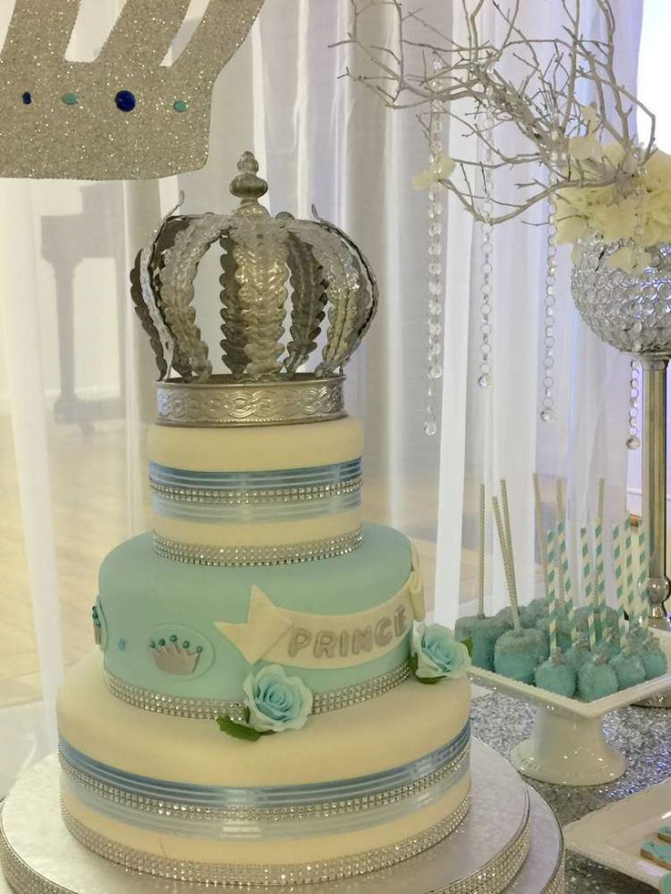 Prince baby shower birthday party cake! See more party ideas at CatchMyParty.com!