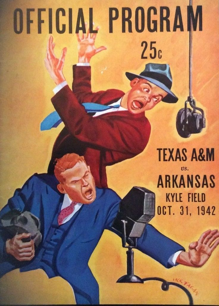 1942 game program between Texas A&M vs Arkansas at Kyle Field in College Station on 10/31/42.