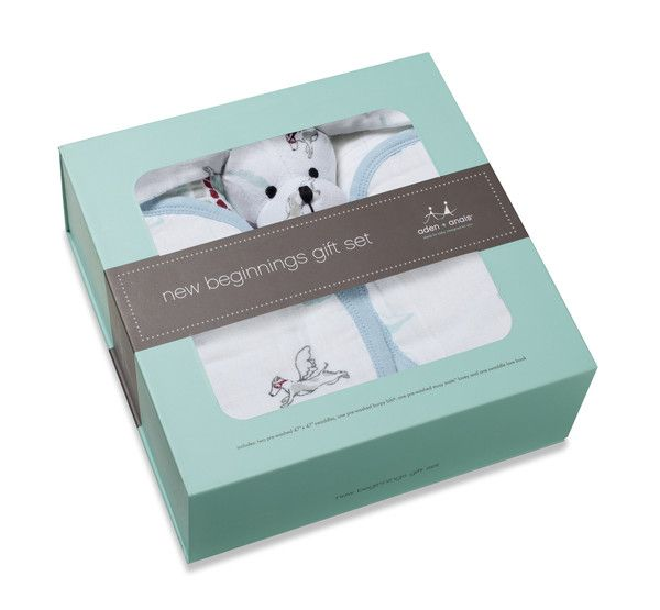 The Aden + Anais New Beginnings Gift Set is a complete gift for baby.  The set includes:  two 120cm x 120cm pre-washed 100% cotton muslin swaddles, complete with swaddling instructions one 100% cotton muslin Burpy Bib - a bib and burp cloth all in one to provide maximum coverage during feeding one Musy Mate Love - a cuddly muslin companion that puts a fun twist on traditional security blankets at bedtime and beyond Swaddle Love Book - an entertaining guide full of heartwarming humor.