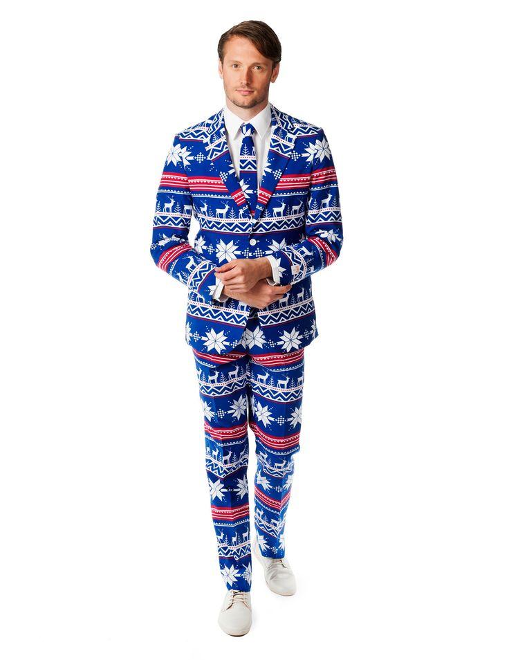 Traje Sr. Navidad hombre Opposuits™: Este traje de Sr. Navidad para adulto es deOpposuits™. Incluye chaqueta, pantalón y corbata (camisa y zapatos no incluidos). El conjunto del traje es azul con motivos blancos y...