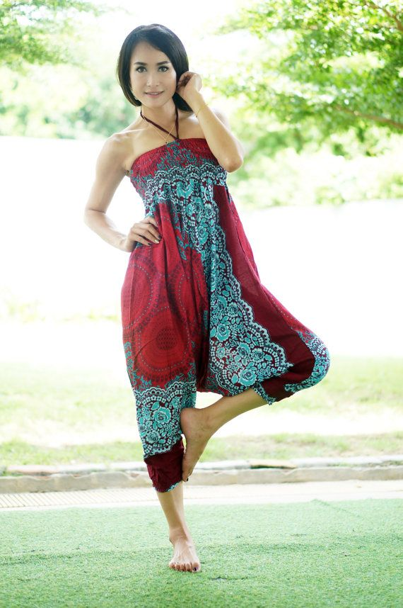 Red Harem Pants Thai Pants Rayon Pants Boho Strenchy by MaeYing