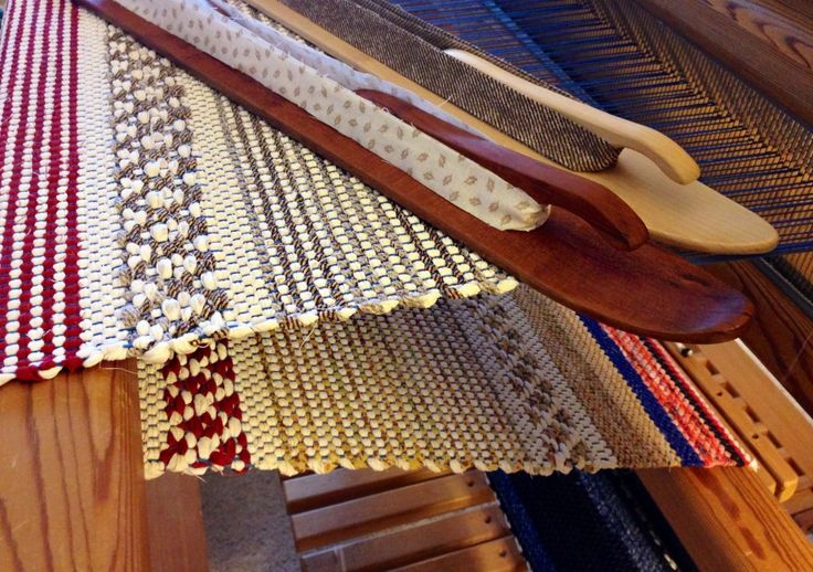 Rosepath rag rug on the loom. Karen Isenhower