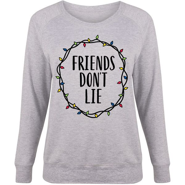 LC trendz Plus Athletic Heather 'Friends Don't Lie' Slouchy Pullover (31 CAD) ❤ liked on Polyvore featuring plus size women's fashion, plus size clothing, plus size tops, plus size, pullover top, plus size sparkly tops, womens plus tops and sparkly tops