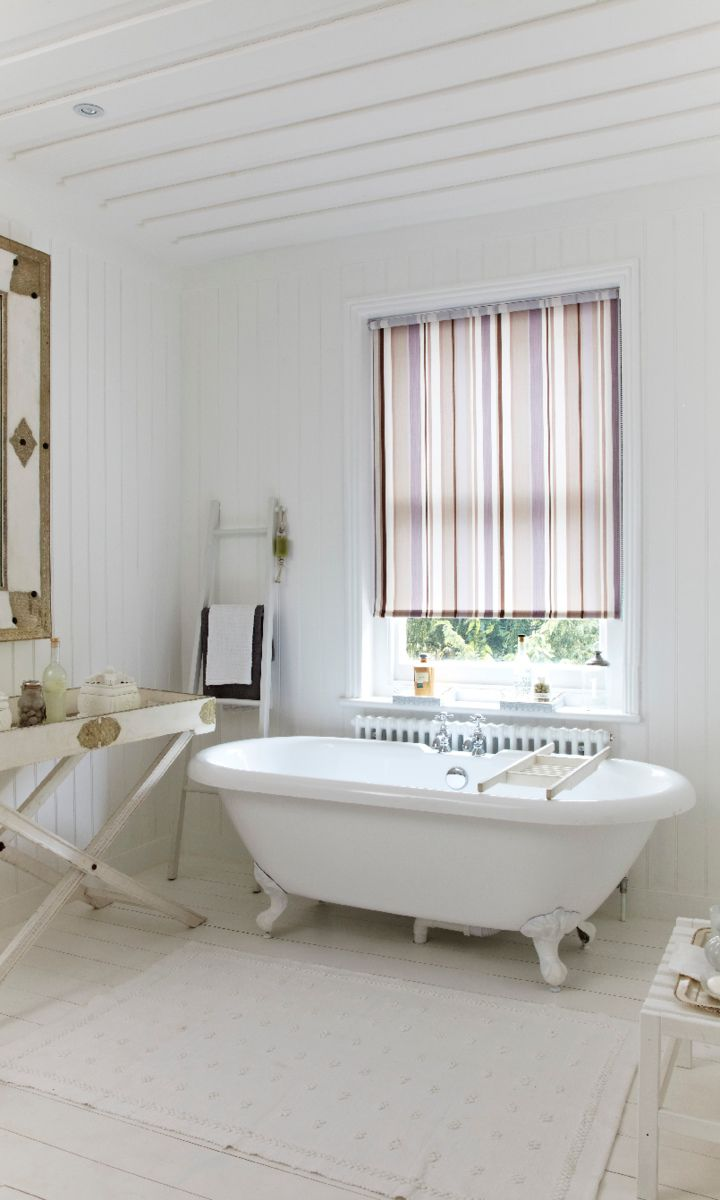 Roller blinds for bathrooms uk - Stripes Bring Splash Of Colour Into A White Bathroom Keep The Rest Of The Decor Natural Roller Blindsbuxtonwhite