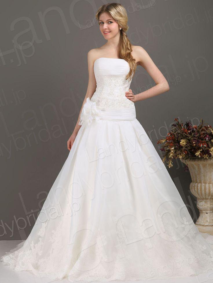 ウェディングドレス プリンセス アイボリー オーガンジー 編み上げ式 結婚式 ブライダル B12240