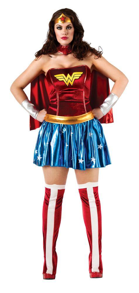 Wonder Woman™-Kostüm für Damen Große Größe: DiesesPlus SizeWonder Woman™-Kostüm für Damen ist lizenziert. Es besteht aus 5 Teilen, einem Kleid, einem Umhang, einer Tiara, einem Paar Überstiefel und einem Paar...