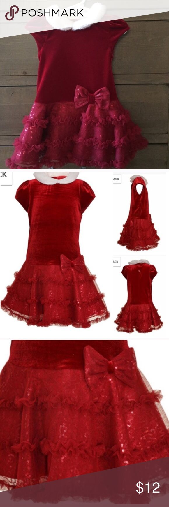 Baby Christmas Dress Looks new. Beautiful velour and satin ruffled Christmas church or party dress. Has 4 layers of ruffles. Adorable faux fur collar. Size 12 months. Purchase 3 or more items to get 25% off Dresses Formal