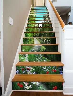 3D River, flowers 3 Stair Risers Decoration Photo Mural Vinyl Decal Wallpaper AU