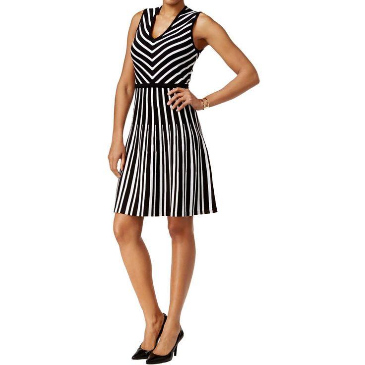 Anne Klein Womens Knit Striped Party Dress