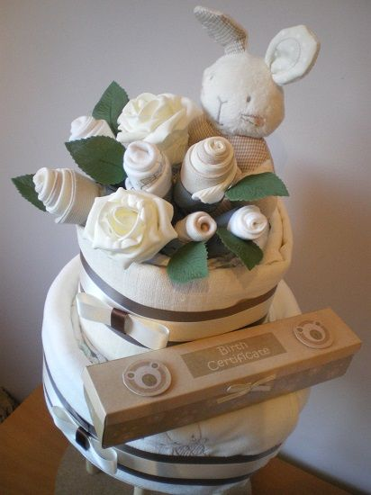 Neutral nappy cake with clothing bouquet by Bottoms Up! Nappy Cakes & Gifts