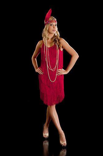 Fringe Flapper Dress 1920's Charleston Ladies Red New   eBay