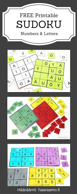 FREE Printable Sudoku Puzzle. Numbers and Letters. Print, laminate & cut! http://www.haaraamo.fi