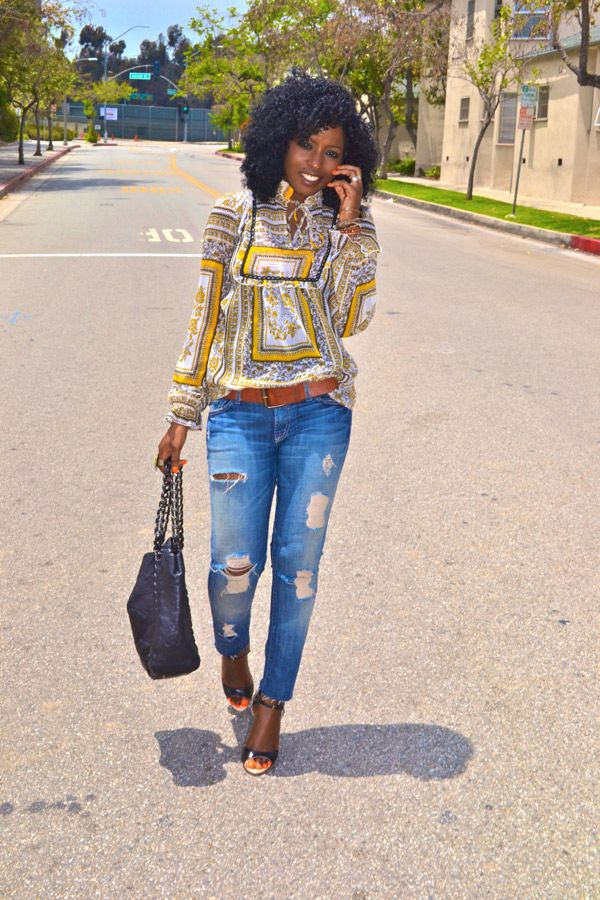 Style Pantry | Vintage Scarf Print Blouse + Destroyed Skinny Jeans