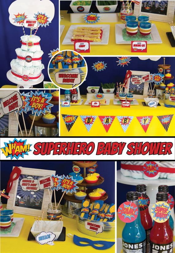 Superhero Baby Shower Decorations Package pop by BusyChickadees, $20.00