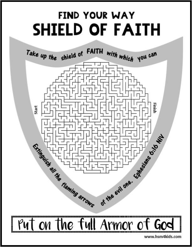 Shield of Faith, Armor of God Maze. Free Bible worksheet