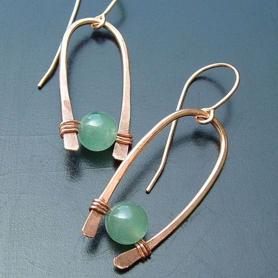 Modern Hoop Earrings Inverted Hoops Green Aventurine eco friendly Fall fashion hoops copper jewelry