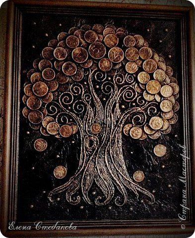 Картина панно рисунок Аппликация Аппликация из скрученных жгутиков Денежное дерево Клей Краска Монета Салфетки фото 1